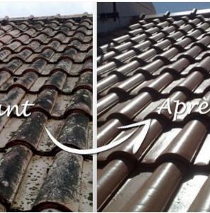 Avant après d'une toiture rénovée avec peinture